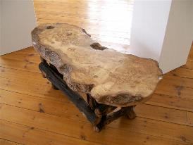 Bone Oak And 500 Year Old Bur Elm Table . Steel Banded Oak Table With  Liquid Copper Inlay